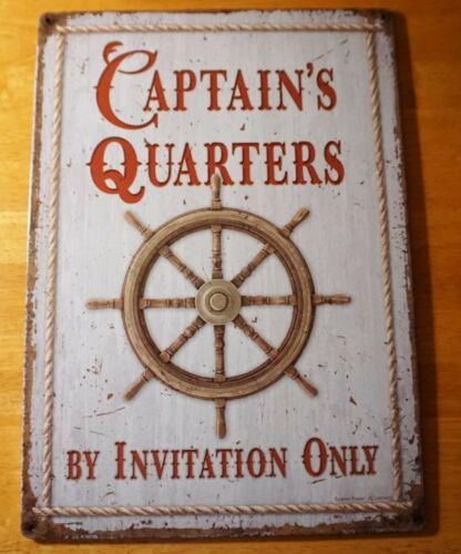 CAPTAIN QUARTERS SIGN Sailing Boat Ship Wheel Beach Fishing Lodge Nautical Decor