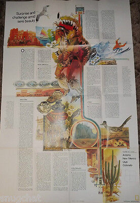 National Geographic 2-Sided Map Oct 1977 The Southwest USA UT CO AZ & NM