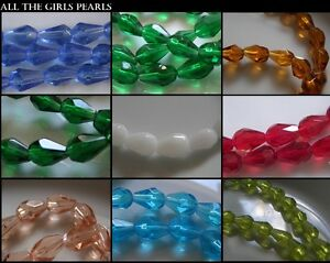 CLEARANCE-Pear-Teardrop-Faceted-Crystal-Glass-Beads-Strand-6mm-8mm-10mm-12mm