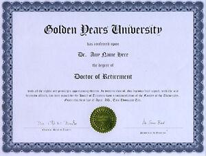 doctor retirement novelty diploma snow bird pension ebay