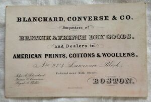 Rare 1860s blanchard converse dry goods business card boston image is loading rare 1860 039 s blanchard converse dry goods reheart Images