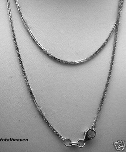 """NEW 20/"""" Italian Solid 14K White Gold Square Wheat Chain 2g SPARKLING BEAUTY 1mm"""