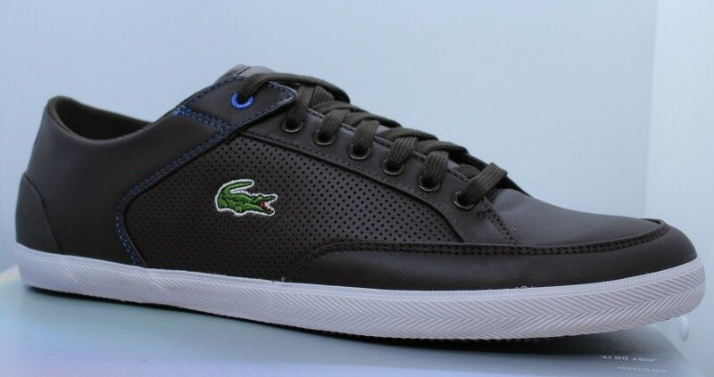 Lacoste Hommes Haneda IT SPM IBH IBH IBH Taille 45 Brown Blue White Cuir Sneaker ff1bc1