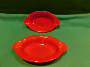 Fiesta Individual Oval Casserole Bakers - Scarlet, Set of Two