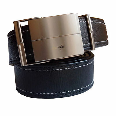 Non leather men black self textured belt with dark grey auto lock buckle