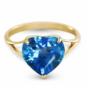 Genuine-Blue-Topaz-10-mm-Heart-Gem-Solitaire-Ring-14K-Yellow-Rose-or-White-Gold