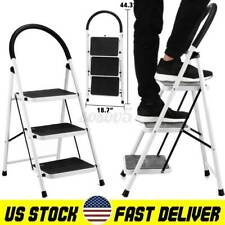 3 Step Ladder Portable Folding Step Stool With Anti Slip Wide Pedal 330lbs Load