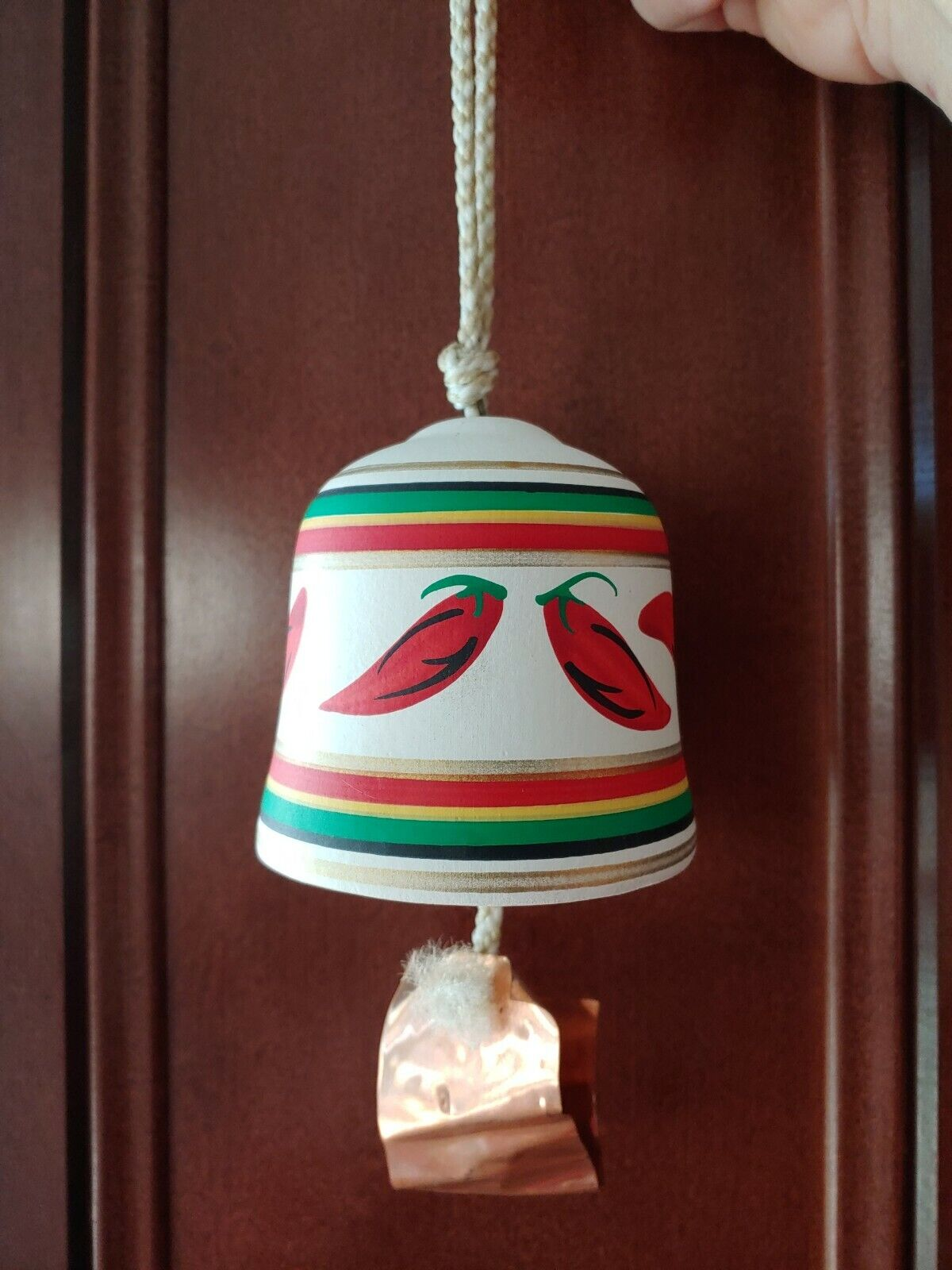 Ceramic Tesa Hand Painted Red Chili Peppers Design Breckenridge Bell Souvener