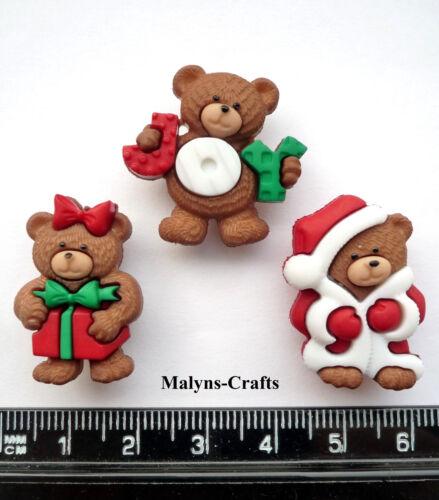 Beary Feliz Navidad Craft Botones 1ST Class Post Regalo Juguete novedad Oso De Peluche