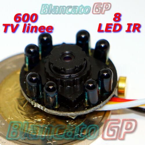 TELECAMERA ANALOGICA 8 LED IR INFRAROSSO mini spy nascosta sorveglianza 5V 12VDC
