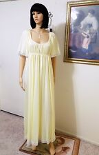 *RARE* CLAIRE SANDRA by LUCIE ANN BH VTG Nightgown LEMON YELLOW size L large