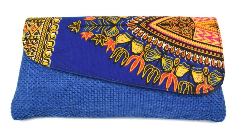 African Print Fabric Medium Clutch Bag