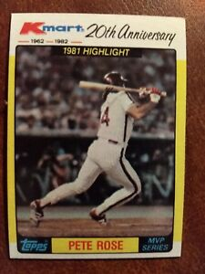 Details About 1982 Topps Kmart 20th Anniversary Baseball Card 44 Pete Rose