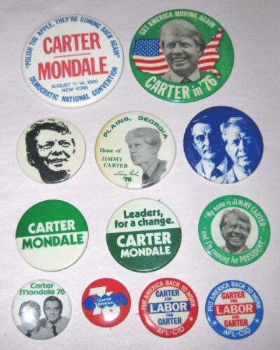 12 Jimmy Carter Mondale Pinbacks Buttons Pin 1976 Presidential Campaign