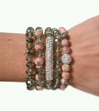 WOMAN FASHION BLING BAR BEAD SILVER GRAY STRETCH BRACELETS ARM PARTY CANDY GIFT