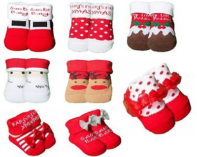 2//3 Newborn//Infant//Baby boy//girl Cotton Xmas Socks Booties Slippers gift bag