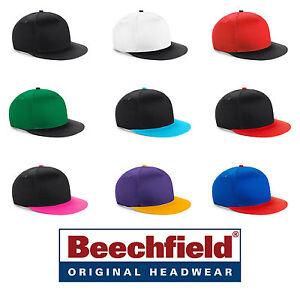 Brillant Cappello Beechfield Rapper Youth Snapback Cotone Twill Visiera Piatta Skateusa #