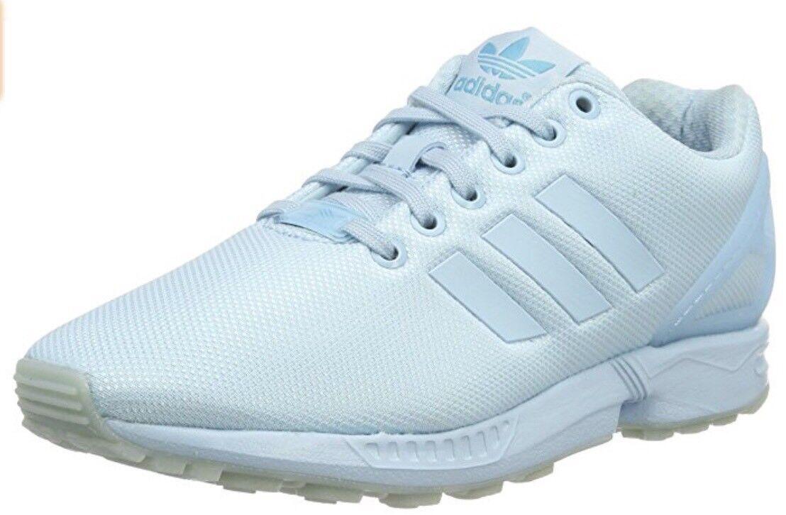 Mens teens boys adidas flux shoes running walking casual light bluee