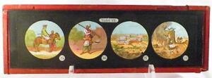 Antique-Glass-Slide-Arabian-Man-Rifle-Cutlass-Magic-Lantern-Tafel-VII-1880-AS-IS