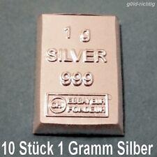10 x 1 Gramm Silberbarren - (1g Silber ESG Valcambi 999 Feinsilber 10g Barren)