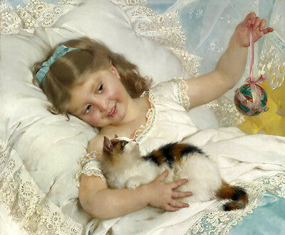 Beautiful Oil painting Emile Munier - A Girl Playing with a Kitten nice pet cat
