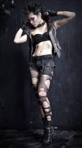 Jeans Shorts Gothic Punk Lolita Destroy Gerissen Riss Mode Spike Nägel PunkRave