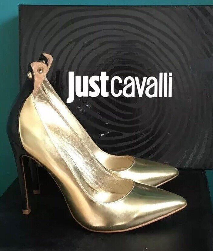 Just Cavalli Roberto Cavalli Metallic Gold High Heels Pumps schuhe Uk4