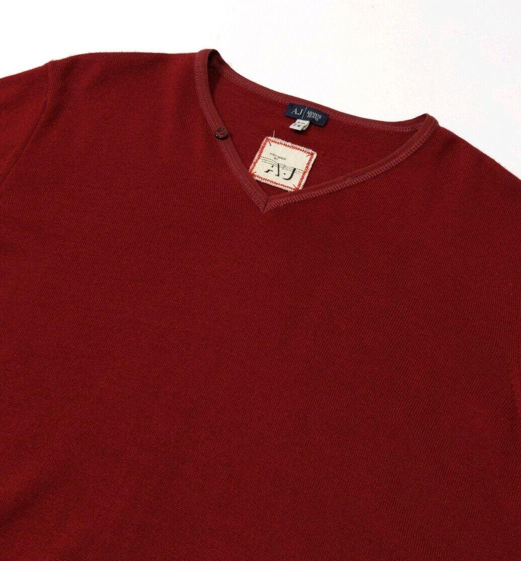 New Armani Jeans herren Jumper rot Virgin wolleV Neck schweißer UK L , US M