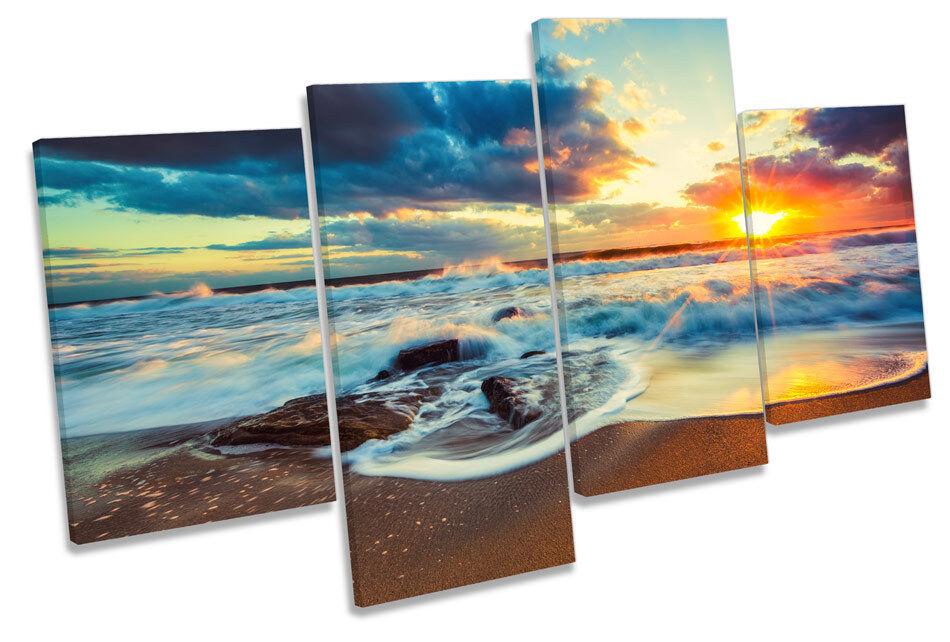 Beach Sunset Seascape CANVAS WALL ART MULTI  Box Framed