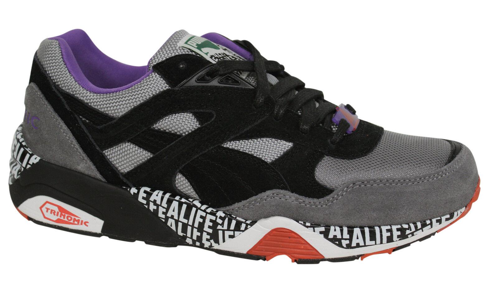 Puma R698 X STUCK UP X ALIFE Grey Black Mens Trainers Lace Up 358867 01 D35