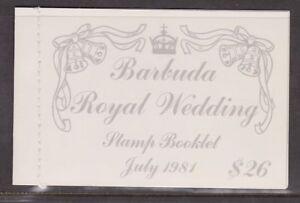 1981-Matrimonio-Reale-Charles-amp-Diana-Gomma-integra-non-linguellato-francobolli-LIBRETTO-Barbuda