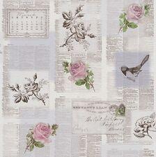 Rasch Tiles More - Grey Pink Green -Newspaper old Letters birds Wallpaper 885217
