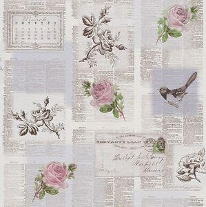 Rasch-Azulejos-Mas-Gris-Rosa-Verde-newspaper-Old-Letras-Pajaros-Papel-Pintado