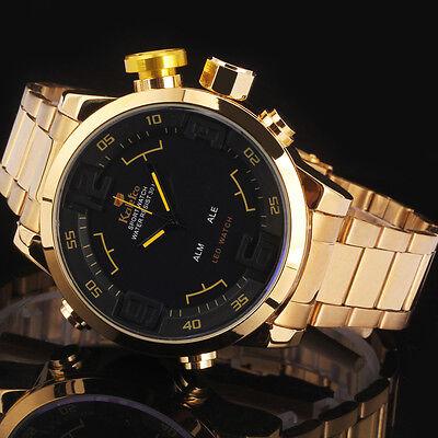 Luxury Men LED Gold Stainless Steel Digital Analog Date Quartz Sport Wrist Watch