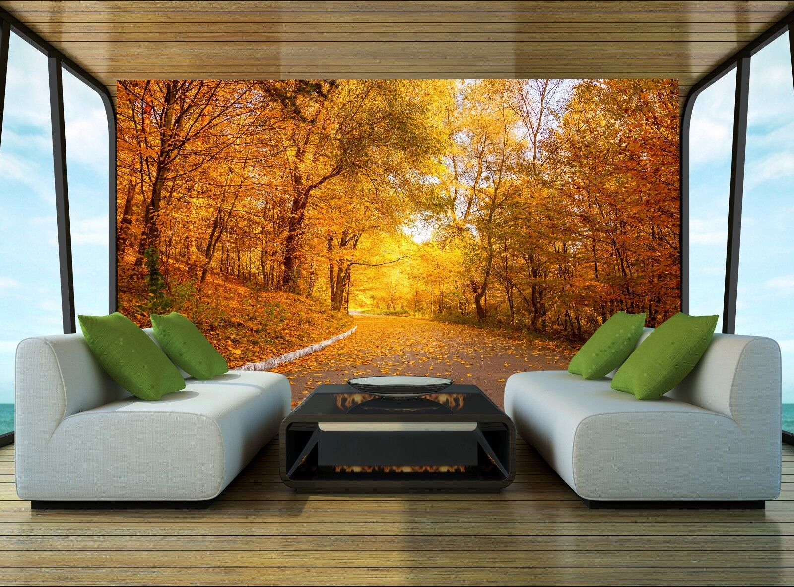 Gelb Trees and alley Wall Mural Photo Wallpaper GIANT WALL DECOR Paper Poster