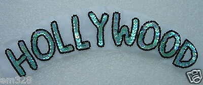 SY151 Aqua AB Sequin Beaded Applique Motif HOLLYWOOD