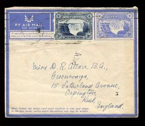 SOUTHERN RHODESIA 1945 STATIONERY AIRLETTER VICTORIA FALLS 3d + 3d to KENT GB