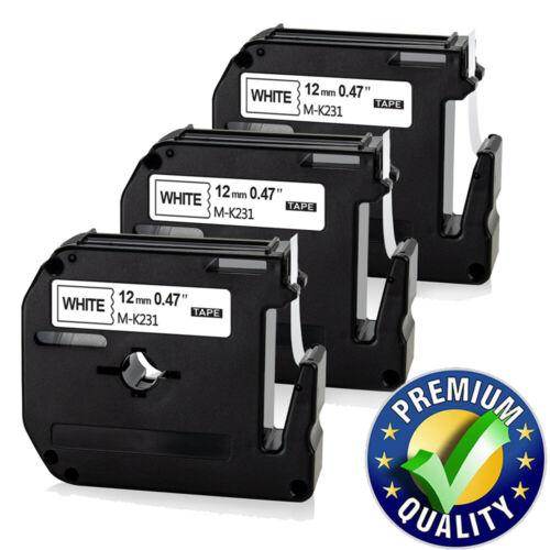 3 Schriftband für Brother M-K231 MK-231 P-Touch PT-55 60 65 75 80 85 90 M95 12mm