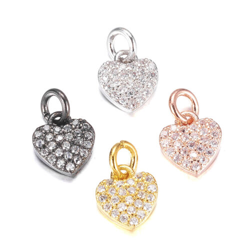 10PCS Brass Micro Pave Cubic Zirconia Charms Heart Pendants For Neckalce 9x8mm