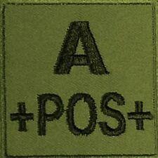 ECUSSON A+ KAKI GROUPE SANGUIN A POS POSITIF INSIGNE PATCH ARMEE COMMANDOS LS
