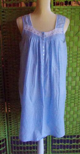 EILEEN WEST COTTON NIGHTIE ROBE (M) BLUE LILAC