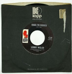 LENNY WELCH Rags To Riches/I Want You To Worry 7IN 1966 NORTHERN SOUL NM-