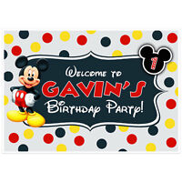 Mickey Mouse Dessert Cake Table Personalized Party Backdrop