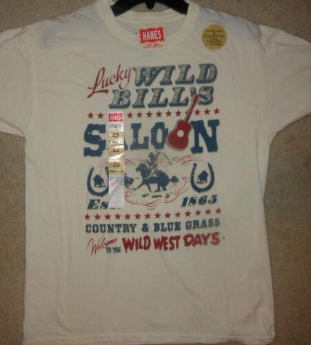 XL  Guys Tee L Men/'s Hanes Wild Bills Saloon T-Shirt  Sizes S