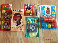 7 Vintage 1980's Toys NEW in PACKAGES * FUDGE STRIPE DOLL * BLOOP GUN etc
