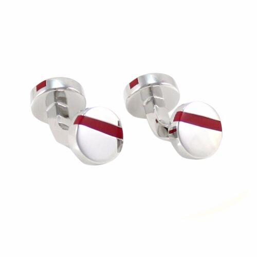 Classic Silver Tone Pantone Color Stripe Round Red Cuff Links 1176