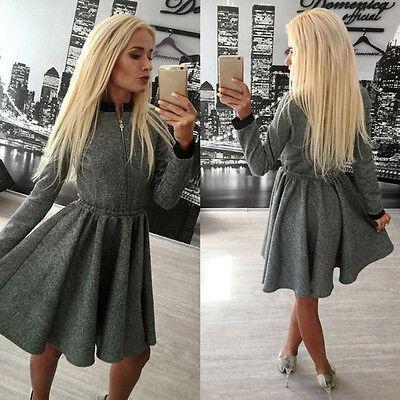 Women Warm Autumn Winter Casual Zipper Long Sleeve  Cotton Pleated Mini Dress