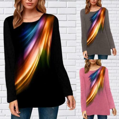 Printed Crew Neck Top Long Sleeve Causal Print Tunic Shirt Ladies Loose Top D1T5