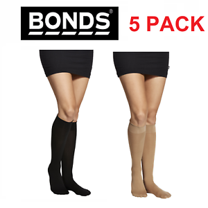 71cda5b4b WOMENS 5 PACK BONDS COMFY TOPS SEMI OPAQUE KNEE HIGH Socks Black ...