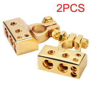 Universal Car Truck Battery Terminal Clip Clamp Connector Alloy Gold One Pair
